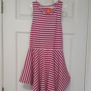 Joe Fresh - Fuchsia & White Striped Dress- Girls L